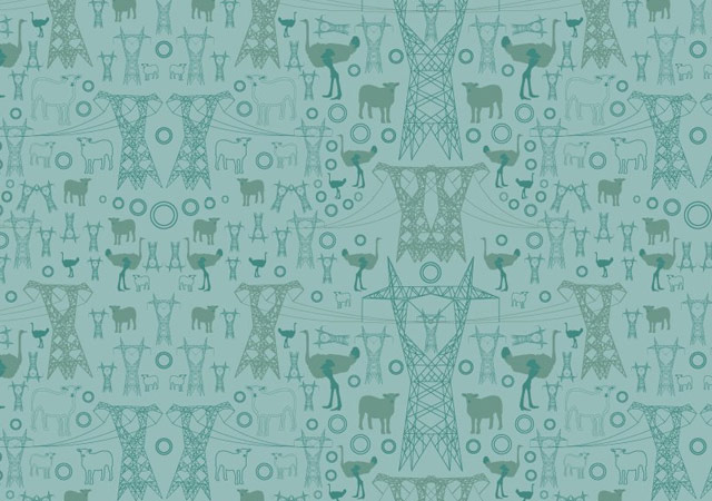 Pylons, ostriches and sheep pattern