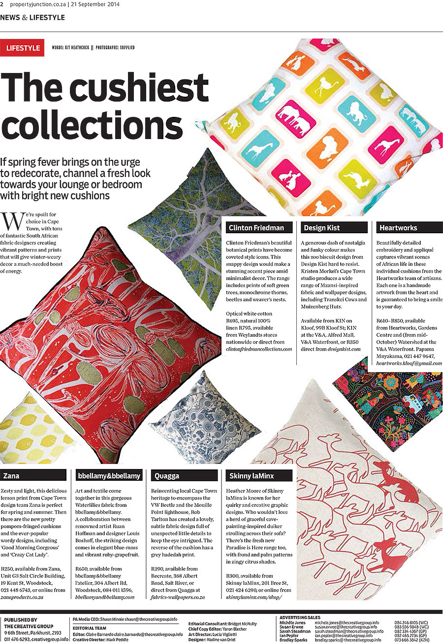 One of our cushions made it into the Sunday Times this last Sunday. Among some other great SA designs.