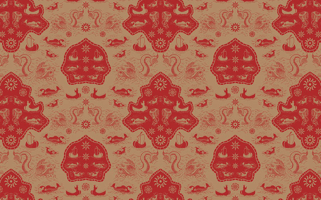 Wallpaper with sea monsters