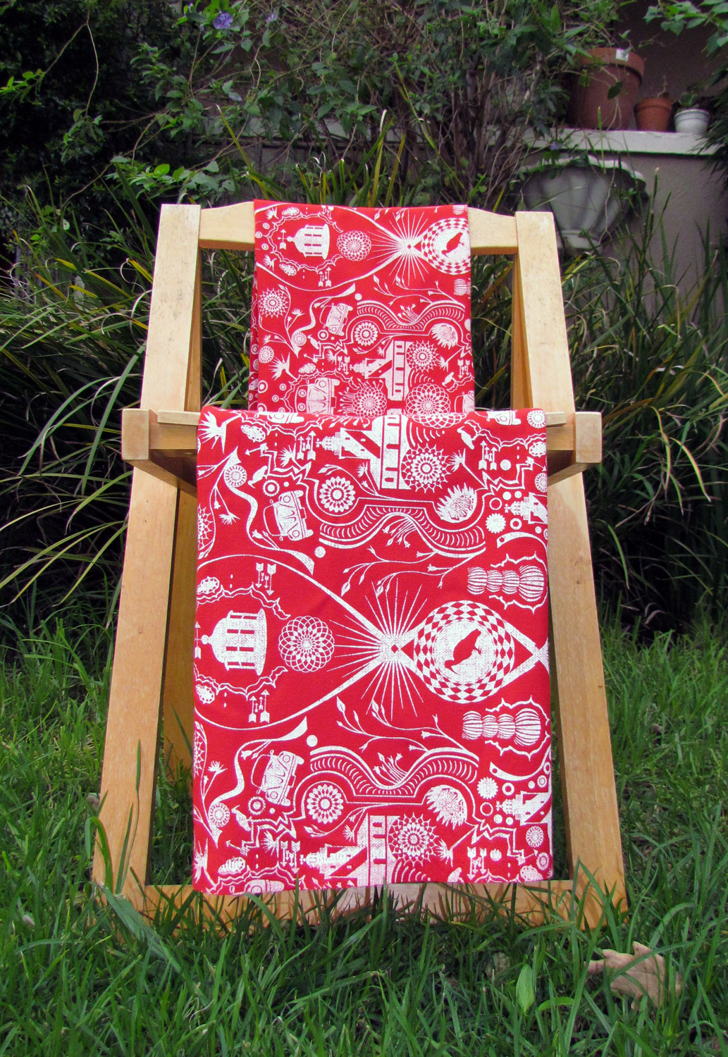 red beetle and lighthouse fabric