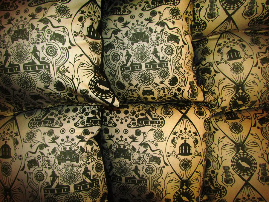 Beetle and Lighthouse scatter cushion