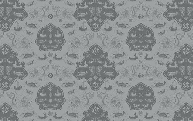 textile pattern with sea monsters