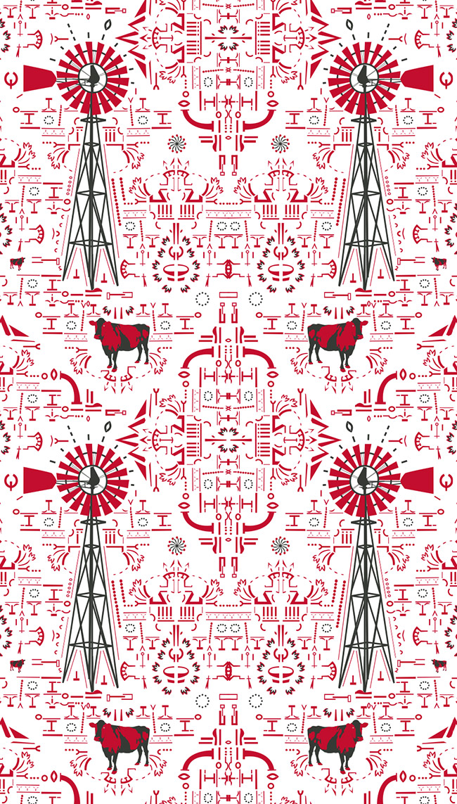 Cow and windmill wallpaper