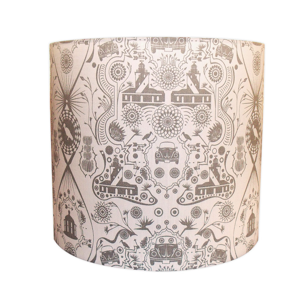 Large grey and white beetle and lighthouse lampshade