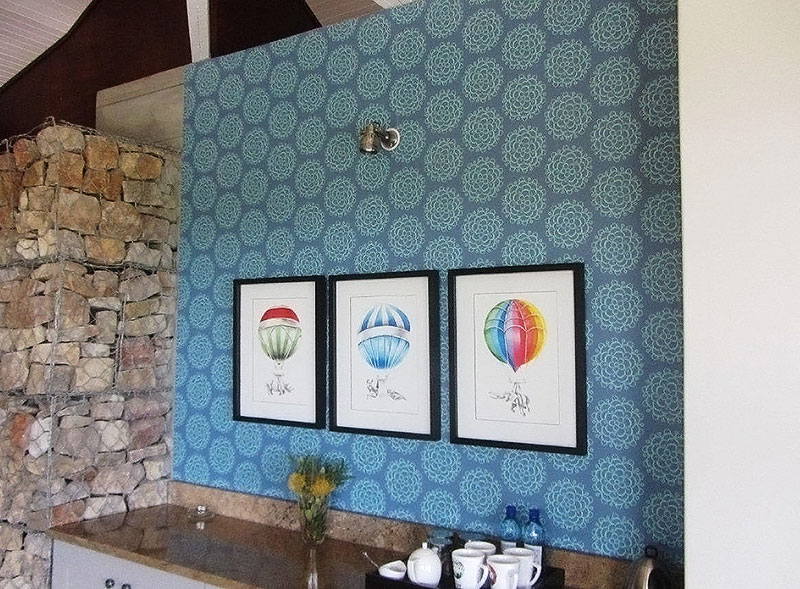 Wallpaper for Beautiful House / Tracy Mills Interiors. Ecca Lodge at Kwandwe Private Game Reserve.