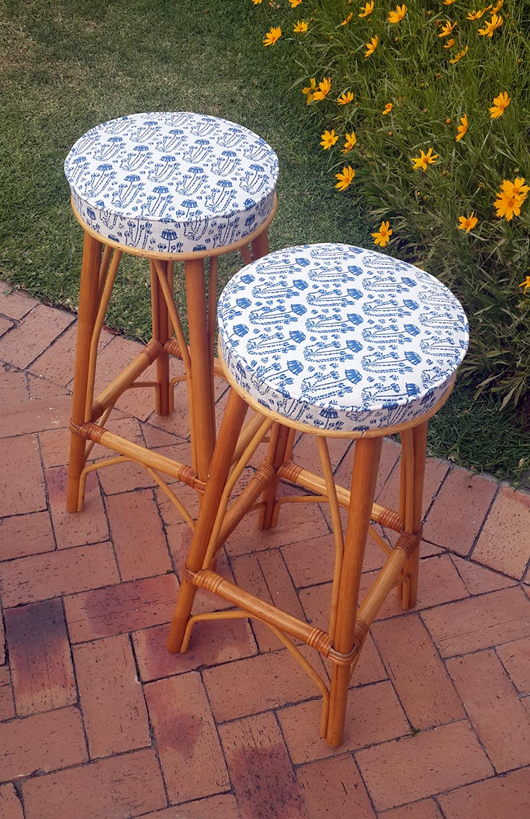 bar stools with our cotyledon fabric