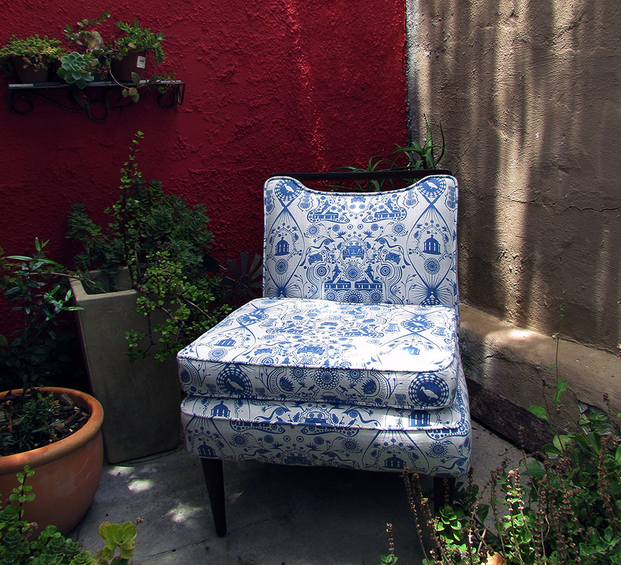 beetle and lighthouse fabric on chair